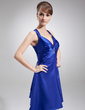 A-Line/Princess V-neck Knee-Length Charmeuse Cocktail Dress With Ruffle Beading (016008248)
