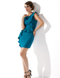 Sheath/Column Scoop Neck Short/Mini Charmeuse Mother of the Bride Dress With Cascading Ruffles (008013760)