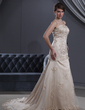 A-Line/Princess Strapless Court Train Tulle Wedding Dress With Beading Appliques Lace (002012190)