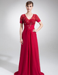 A-Line/Princess V-neck Court Train Chiffon Lace Mother of the Bride Dress With Ruffle Beading (008005974)