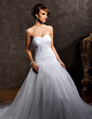 Ball-Gown Sweetheart Chapel Train Satin Organza Wedding Dress With Ruffle Beading Appliques Lace (002012012)