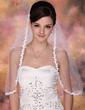 One-tier Elbow Bridal Veils With Lace Applique Edge (006003970)