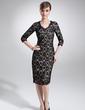 Kılıf V Yaka Diz Hizası Şarmöz Dantel Gelin Annesi Elbisesi (008006294)