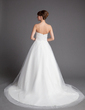 Ball-Gown Sweetheart Chapel Train Tulle Wedding Dress With Ruffle Flower(s) (002001176)