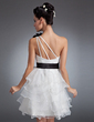 A-Line/Princess One-Shoulder Knee-Length Satin Organza Homecoming Dress With Sash Beading Sequins Cascading Ruffles (022015066)