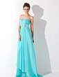 Empire Strapless Sweep Train Chiffon Evening Dress With Ruffle Beading (017013773)