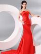 Trumpet/Mermaid Sweetheart Court Train Charmeuse Evening Dress With Ruffle (017013995)