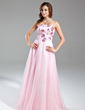 A-Line/Princess Strapless Floor-Length Organza Prom Dress With Beading (018015551)