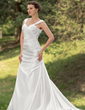 A-Line/Princess Sweetheart Court Train Charmeuse Wedding Dress With Ruffle (002000429)