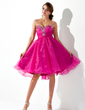 Empire Sweetheart Knee-Length Organza Homecoming Dress With Ruffle Beading (022009004)