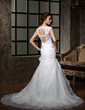 A-Line/Princess V-neck Chapel Train Organza Wedding Dress With Lace Beading Flower(s) Cascading Ruffles (002011399)
