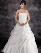 Ball-Gown Strapless Court Train Satin Organza Wedding Dress With Ruffle Beading (002016942)