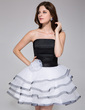 A-Line/Princess Strapless Short/Mini Charmeuse Organza Homecoming Dress With Flower(s) Cascading Ruffles (022027165)