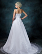 A-Line/Princess Scoop Neck Chapel Train Satin Organza Wedding Dress With Lace Beading (002000104)