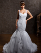 Trumpet/Mermaid Sweetheart Court Train Tulle Lace Wedding Dress With Ruffle Beading (002012818)