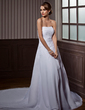 A-Line/Princess Strapless Chapel Train Chiffon Wedding Dress With Ruffle Beading (002000505)