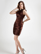 Sheath/Column One-Shoulder Short/Mini Charmeuse Cocktail Dress With Ruffle Flower(s) (016015766)