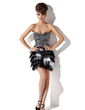 A-Line/Princess Sweetheart Short/Mini Charmeuse Sequined Cocktail Dress With Feather (016008486)
