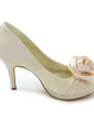 Women's Satin Cone Heel Peep Toe Platform Sandals With Satin Flower (047005115)