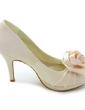 Kvinnor Satäng Cone Heel Peep Toe Plattformen Sandaler med Satäng Blomma (047005115)