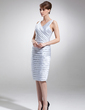 Sheath/Column V-neck Knee-Length Satin Mother of the Bride Dress With Ruffle (008005944)