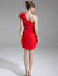 Sheath/Column One-Shoulder Short/Mini Chiffon Mother of the Bride Dress With Ruffle Beading Bow(s) (008016276)