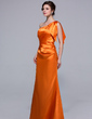 Trumpet/Mermaid One-Shoulder Floor-Length Charmeuse Bridesmaid Dress With Cascading Ruffles (007037254)