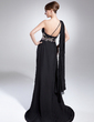 Empire One-Shoulder Sweep Train Chiffon Mother of the Bride Dress With Beading Pleated (008015038)