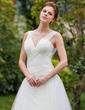 A-Linie/Princess-Linie V-Ausschnitt Kapelle-schleppe Tüll Brautkleid mit Rüschen Federn (002000578)