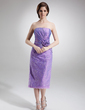 Sheath/Column Strapless Knee-Length Taffeta Lace Mother of the Bride Dress With Ruffle Beading Sequins (008006210)