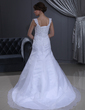 Trumpet/Mermaid Sweetheart Chapel Train Satin Organza Wedding Dress With Lace Beading (002011713)