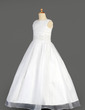 A-Line/Princess Floor-length Flower Girl Dress - Organza/Charmeuse Sleeveless Scoop Neck With Beading/Sequins (010014641)