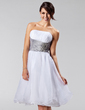 A-Line/Princess Strapless Knee-Length Organza Bridesmaid Dress With Ruffle Sash Beading (007005224)