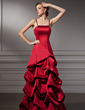 A-Line/Princess Floor-Length Satin Bridesmaid Dress With Ruffle Beading (007001762)