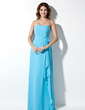 A-Line/Princess Strapless Floor-Length Chiffon Bridesmaid Dress With Flower(s) Cascading Ruffles (007001867)