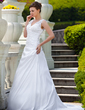 A-Line/Princess V-neck Court Train Taffeta Wedding Dress With Ruffle Appliques Lace (002001650)