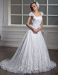 A-Line/Princess Square Neckline Court Train Tulle Wedding Dress With Appliques Lace (002012091)