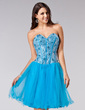A-Line/Princess Sweetheart Short/Mini Tulle Sequined Homecoming Dress With Beading (022020834)