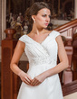 A-Line/Princess V-neck Chapel Train Chiffon Wedding Dress With Ruffle Beading (002011766)