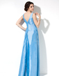 A-Line/Princess V-neck Floor-Length Taffeta Bridesmaid Dress With Ruffle Crystal Brooch (007001105)
