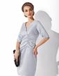 Kılıf V Yaka Diz Hizası Satin Gelin Annesi Elbisesi Ile Büzgü (008005627)