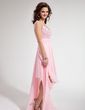 A-Line/Princess V-neck Asymmetrical Chiffon Homecoming Dress With Beading Cascading Ruffles (022009543)