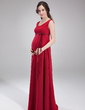 Empire Scoop Neck Floor-Length Chiffon Chiffon Maternity Bridesmaid Dress With Bow(s) (045004414)