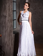 A-Line/Princess Halter Floor-Length Charmeuse Wedding Dress With Sash Beading Pleated (002001197)