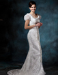 Sheath/Column Scoop Neck Sweep Train Lace Wedding Dress With Appliques Lace Bow(s) (002011643)