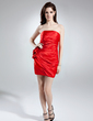 Sheath/Column Strapless Short/Mini Charmeuse Cocktail Dress With Ruffle Flower(s) (007021074)