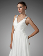 A-Line/Princess V-neck Floor-Length Chiffon Wedding Dress With Ruffle Beading (002005176)