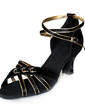 Women's Satin Heels Sandals Latin Ballroom With Ankle Strap Dance Shoes (053013249)