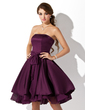 A-Line/Princess Strapless Knee-Length Satin Chiffon Homecoming Dress With Ruffle Bow(s) (022020929)