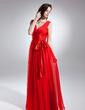 A-Line/Princess V-neck Floor-Length Chiffon Evening Dress With Ruffle Bow(s) (017015642)